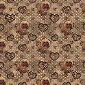 Shihtzu- Shih tzu Leopard hearts and multi browns Background