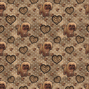 Shihtzu- Shih tzu  - Morkie Leopard hearts and multi browns Background