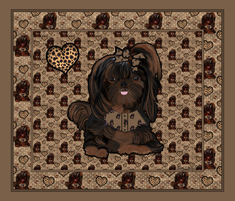 Shih Tzu Leopard Panel fabric by sherry_savannah on Spoonflower - custom fabric