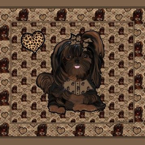 Shih Tzu Leopard Quilt Panel - 25 little squares