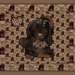 Shih Tzu Leopard Quilt Panel - 25 little squares