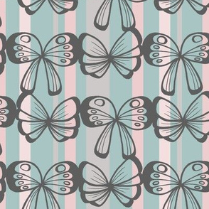 Butterfly Stripes in Pink and Teal