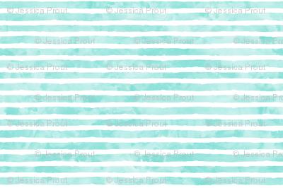 watercolor stripe teal - mermaid coordinate