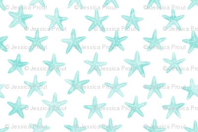 (small scale) starfish teal - mermaid coordinate