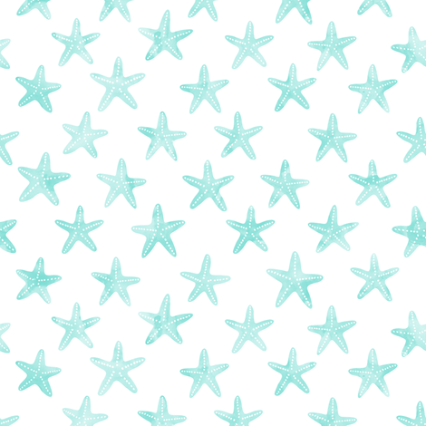 (small scale) starfish teal - mermaid coordinate  fabric by littlearrowdesign on Spoonflower - custom fabric