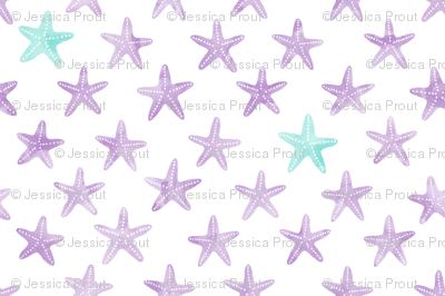(small scale) starfish purple - mermaid coordinate
