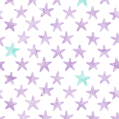 (small scale) starfish purple - mermaid coordinate  fabric by littlearrowdesign on Spoonflower - custom fabric