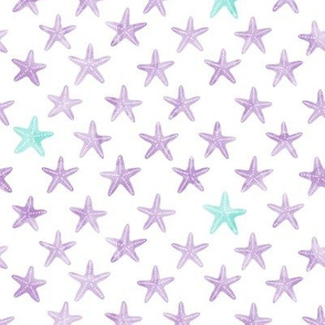 (small scale) starfish purple - mermaid coordinate