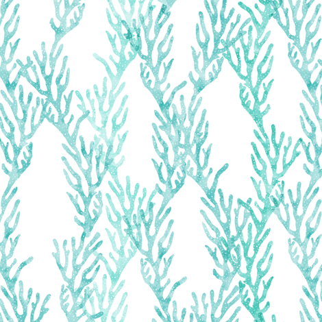 (small scale) coral teal - mermaid coordinate fabric by littlearrowdesign on Spoonflower - custom fabric
