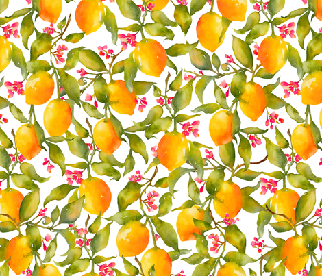 Lemon Tree fabric by divadeba on Spoonflower - custom fabric