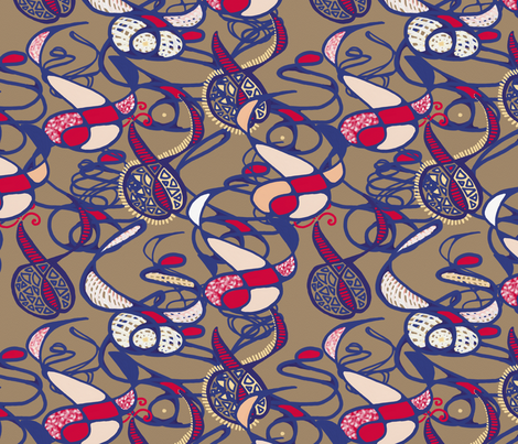 Watercolor Creatures of the Brown Paper by Su_G fabric by su_g on Spoonflower - custom fabric