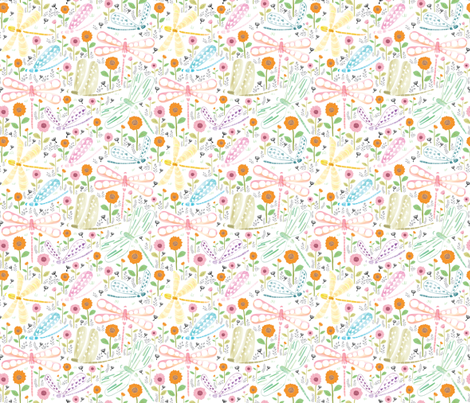 Dragonflies in My Garden - Large Size fabric by y_me_it's_me on Spoonflower - custom fabric