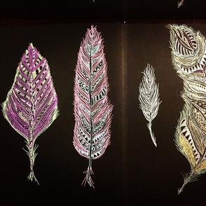 metallic feathers