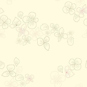 Floating hydrangea flower petals
