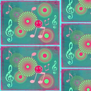 Musical Daze in teal, pastel green and pink - MD3