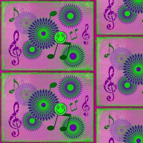 Musical Daze in Purple and Lime Green