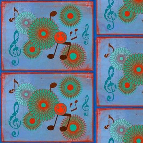 Musical Daze in Blue, Turquoise and Orange - MD9