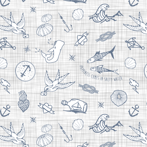 The sea messenger / Grey & grey linen fabric by appaloosa_designs on Spoonflower - custom fabric