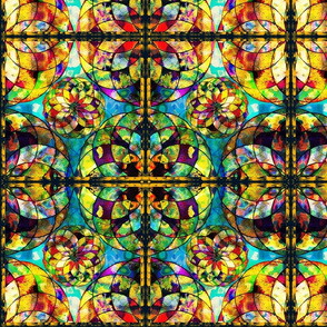 KALEIDOSCOPE ROSE WINDOW STAINED GLASS  TILES OCULUS BLUE  TEAL