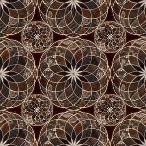 MANDALA FLOWER Small BROWN AND WHITE EARTH TONES