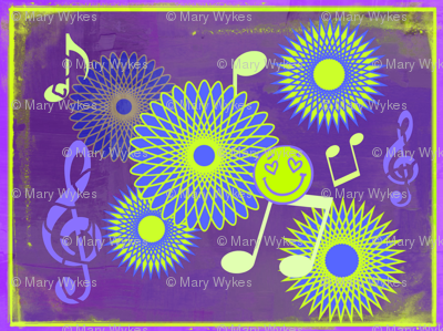 Musical Daze in Purple, Blue and Chartreuse - MD12