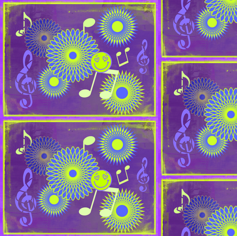 Musical Daze in Purple, Blue and Chartreuse - MD12 fabric by maryyx on Spoonflower - custom fabric