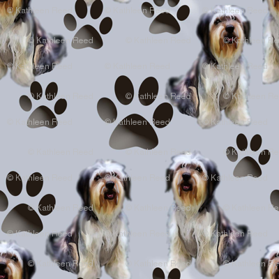 Seamless Pattern Bearded Collie