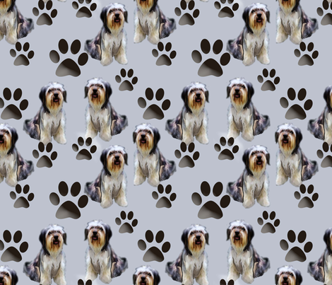 Seamless Pattern Bearded Collie fabric by dogdaze_ on Spoonflower - custom fabric