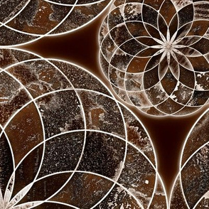 MANDALA FLOWER Large BROWN AND WHITE EARTH TONES