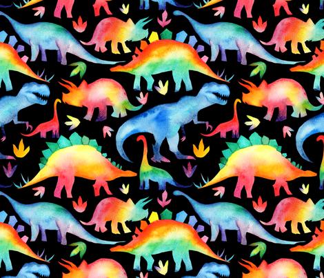 Rainbow Dinosaurs - black - larger scale fabric by emeryallardsmith on Spoonflower - custom fabric