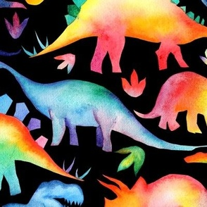 Rainbow Dinosaurs - black - larger scale