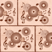 Musical Daze in Brown on Pastel Salmon Pink - MD27