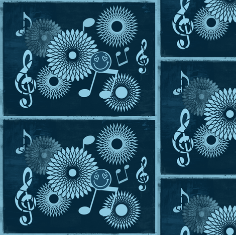 Musical Daze in Teal Blue Medley - MD28 fabric by maryyx on Spoonflower - custom fabric