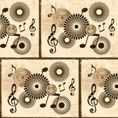 Musical Daze in Brown on Creamy Beige - MD30