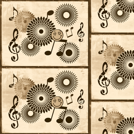 Musical Daze in Brown on Creamy Beige - MD30 fabric by maryyx on Spoonflower - custom fabric