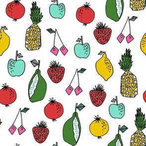 fruits fabric // fruit summer tropical fruits pineapple strawberry fruits design - white