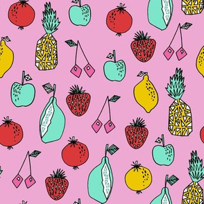 fruits fabric // fruit summer tropical fruits pineapple strawberry fruits design - pink