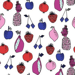 fruits fabric // fruit summer tropical fruits pineapple strawberry fruits design - purple and blue