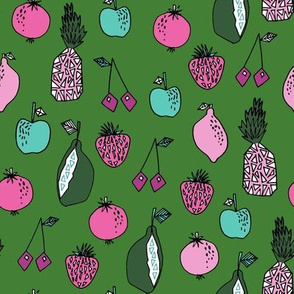 fruits fabric // fruit summer tropical fruits pineapple strawberry fruits design - green