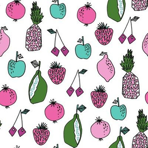 fruits fabric // fruit summer tropical fruits pineapple strawberry fruits design - bright white