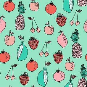 fruits fabric // fruit summer tropical fruits pineapple strawberry fruits design - coral and mint