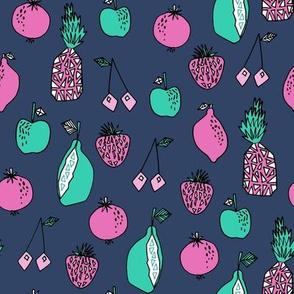 fruits fabric // fruit summer tropical fruits pineapple strawberry fruits design - blue