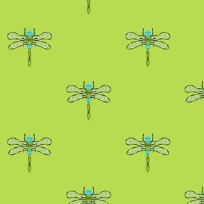 Spring Green Grass Dragonfly