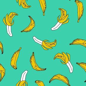 bananas fabric // banana summer fruit hand-drawn pattern illustration by andrea lauren - jade