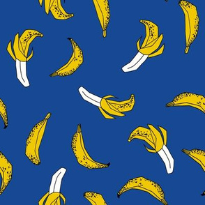 bananas fabric // banana summer fruit hand-drawn pattern illustration by andrea lauren - bright blue