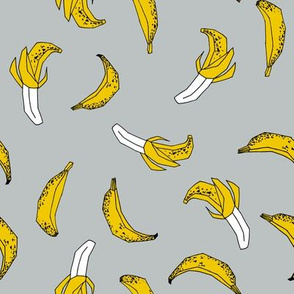 bananas fabric // banana summer fruit hand-drawn pattern illustration by andrea lauren - grey