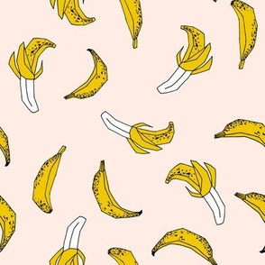 bananas fabric // banana summer fruit hand-drawn pattern illustration by andrea lauren - champagne