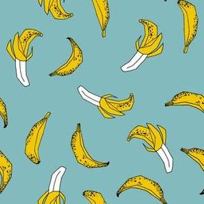 bananas fabric // banana summer fruit hand-drawn pattern illustration by andrea lauren - blue