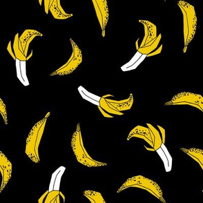 bananas fabric // banana summer fruit hand-drawn pattern illustration by andrea lauren - black