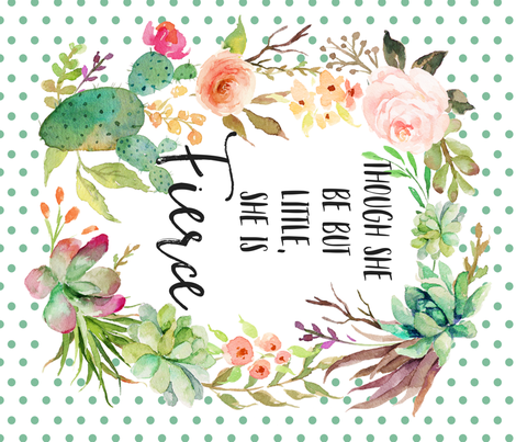 """42""""x36"""" / Floral Frame is approx. 34""""x41"""" / Though She Be Little Quote Blanket fabric by shopcabin on Spoonflower - custom fabric"""